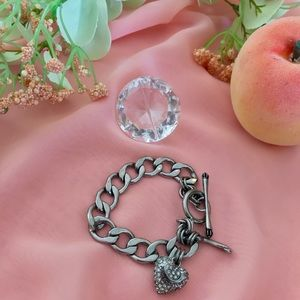 Juicy Couture Pave Heart Banner Silver Bracelet
